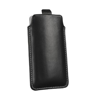 Futerał Skórzany Forcell Slim Deluxe - APP IPHO 3G/4G/4S/NOK N8/SAM S5830 Ace czarny Pull Up