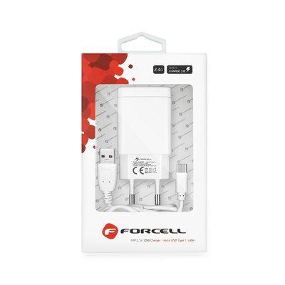 Ładowarka Sieciowa Forcell z kablem micro USB typ-C - 2,4A z funkcją Quick Charge 3.0